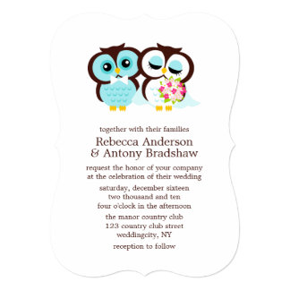 Wedding Invitation Template With Purple And Black Owls Design