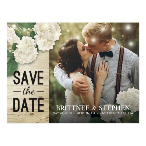 Wedding Photo Save The Date Hydrangeas Lights Wood Postcard
