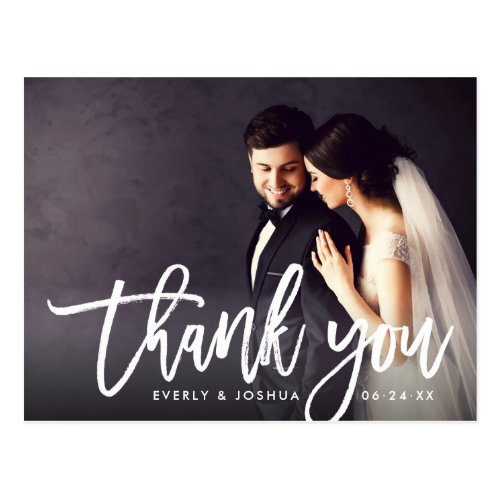Wedding Photo Thank You | Brush Lettered Script Postcard