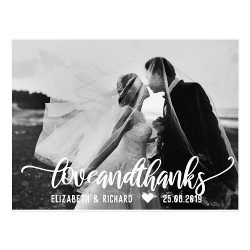 Wedding Photo Thank You Script Calligraphy Postcard