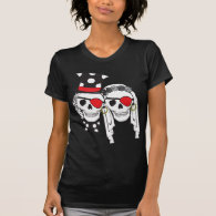 Wedding Pirate Skulls Black on Dark Shirt