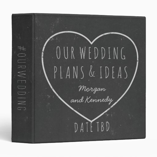 Wedding Plans and Ideas Faux Chalkboard Planner 3 Ring Binder