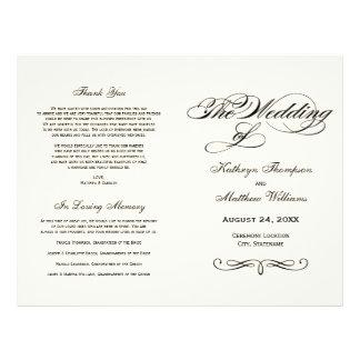 Wedding Programs Black Calligraphy Design