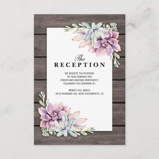 Wedding Reception Rustic Succulent Floral Enclosure Card