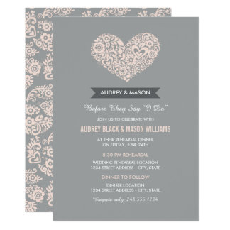 Wedding Rehearsal And Dinner Gray Blush Pink Card