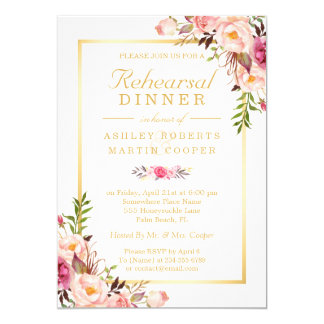 Wedding Rehearsal Dinner Elegant Chic Gold Fl Card
