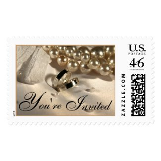Wedding Ring Pillow And Pearls Postage Stamp stamp