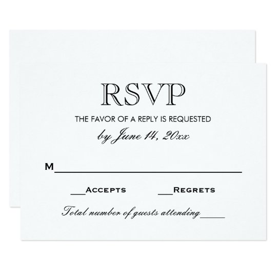 Wedding Rsvp Card Black And White