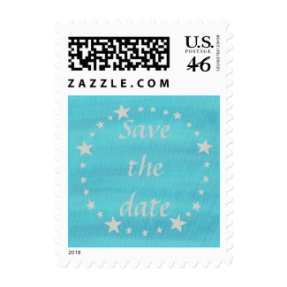Mariage la date, les étoiles d'argent sur les timbres bleus de timbre