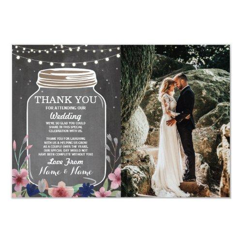 Wedding Thank You Card Engagement Jar Chalk Floral