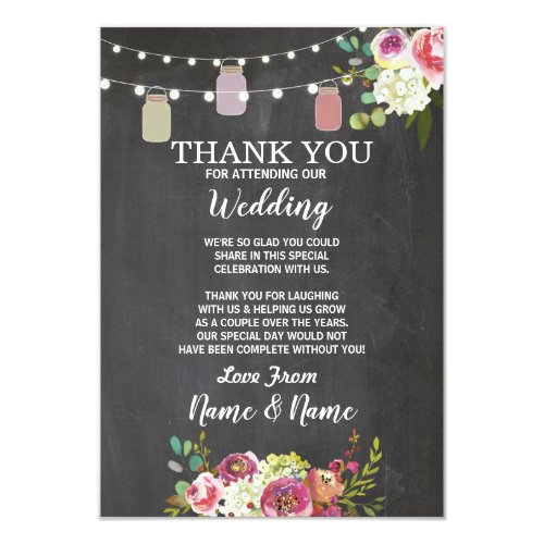 Wedding Thank You Card Engagement Jars Chalk