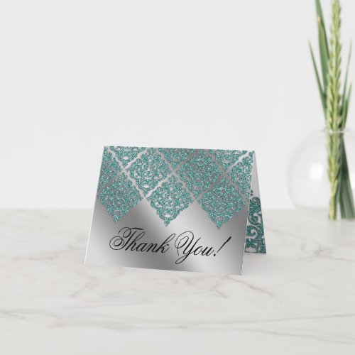 Wedding Thank You Cards Damask Sparkle Silver Teal