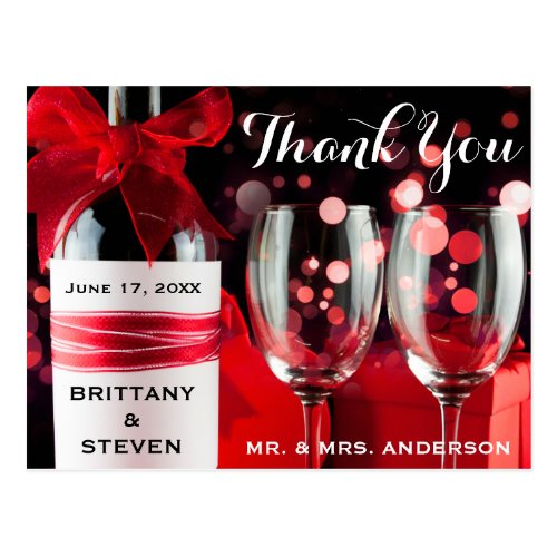 Wedding Thank You Glasses & Bottle Postcard