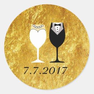 Wedding Toast Invitation Gold Seals Classic Round Sticker