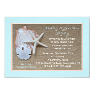 Wedding Vow Renewal Beach Burlap Look Card