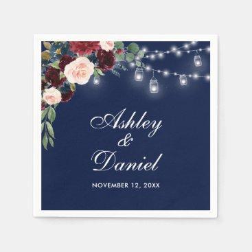 Wedding Watercolor Burgundy Blue Floral Lights Napkin