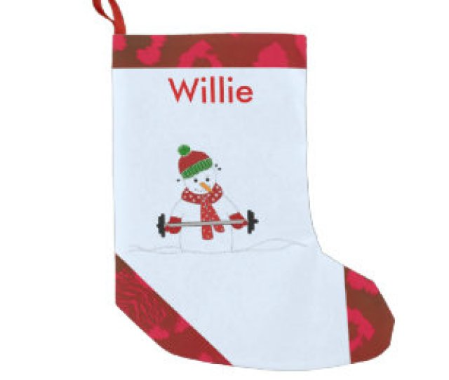 Weight Lifting Snowman Small Christmas Stocking