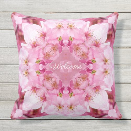 Welcome Cherry Blossoms Outdoor Pillow