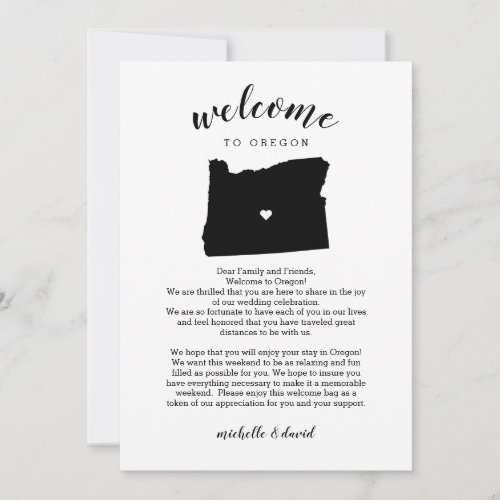 Welcome Oregon | Wedding Letter & Itinerary