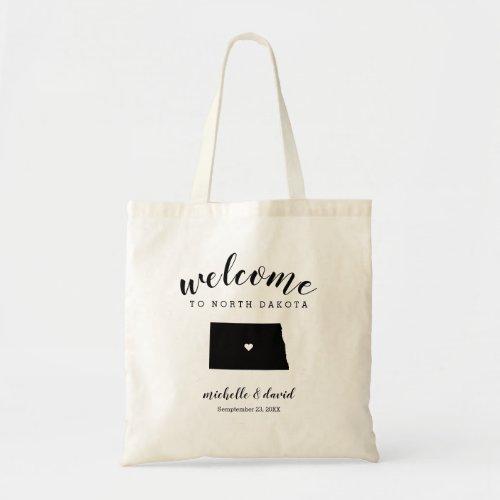 Welcome to NORTH Dakota Silhouette Wedding Tote Bag