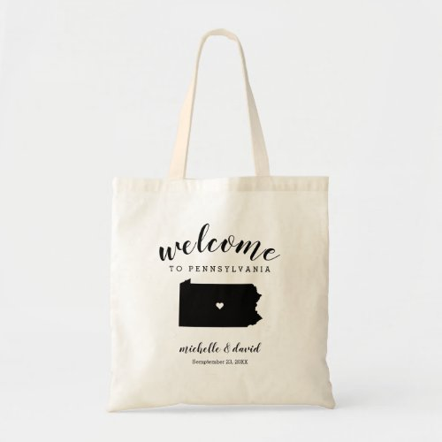Welcome to  Pennsylvania State Silhouette Wedding Tote Bag
