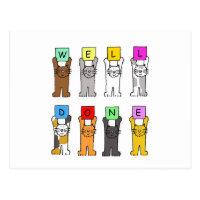 Well Done, congratulations cartoon cats. Postcard