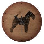 Welsh Terrier Silhouette Rustic Large Clock