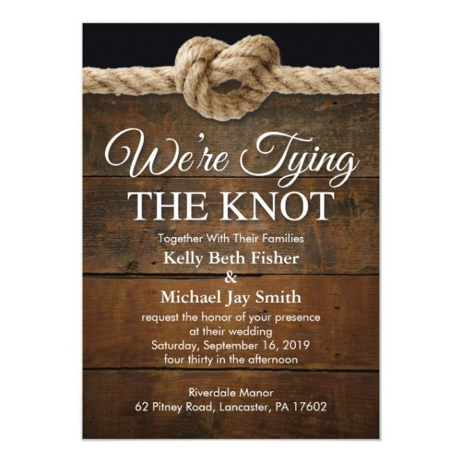 We Re Tying The Knot Wedding Invitation