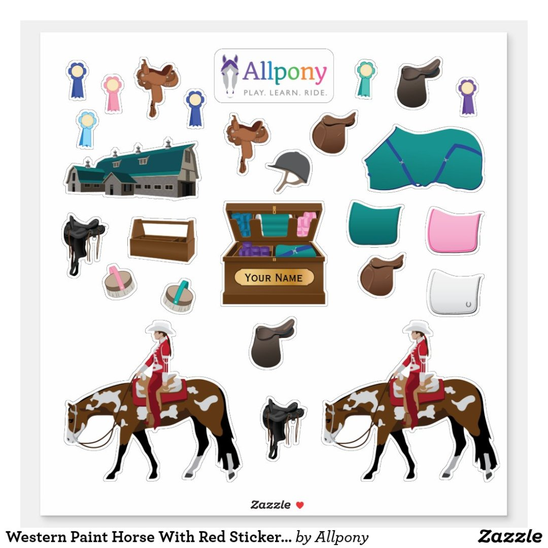 Western Paint Horse With Red Sticker Sheet