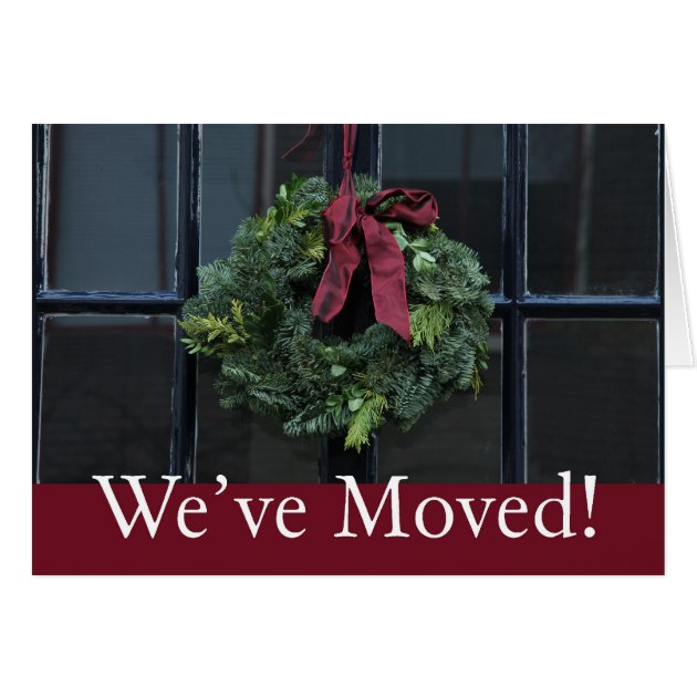 Weve Moved Christmas Wreath New Address Card
