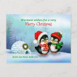 We've Moved, New Home Address Christmas Penguins Holiday Postcard