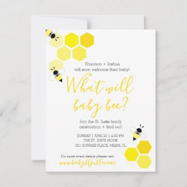 what will baby bee GENDER REVEAL neutral shower Invitation