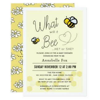 What will it Bee Gender Reveal Yellow Baby Shower Invitation