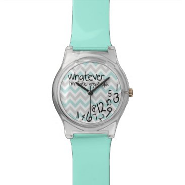 Whatever, I'm late anyways - Turquoise Chevron Wrist Watch