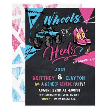 Wheels or heels gender reveal invitation