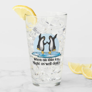 When On Thin Ice Penguins Glass