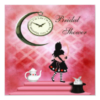 Whimsical Alice & Pink Flamingo Bridal Shower Card