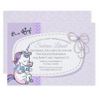 Whimsical Blue Boy Baby Unicorn Baby Shower Card