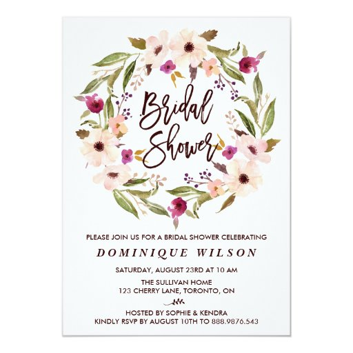Whimsical Bohemian Floral Wreath Bridal Shower Card Zazzle