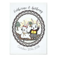 Whimsical Bunny Rabbit Wedding Invitation