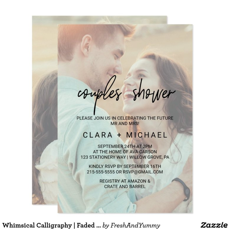 Whimsical Calligraphy | Faded Photo Couples Shower Invitation