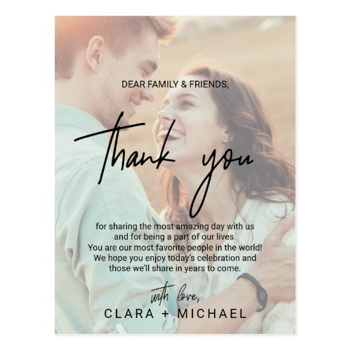 Whimsical Calligraphy | Faded Photo Thank You Card