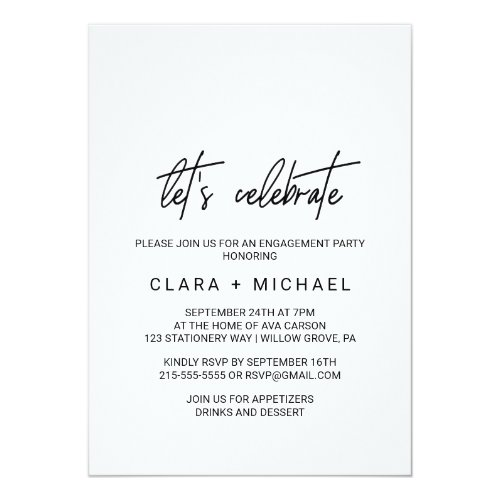 Whimsical Calligraphy Let's Celebrate Invitation