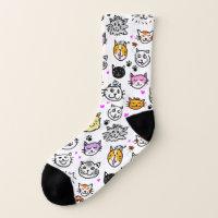 Whimsical Cat Faces Pattern Socks