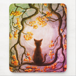 Whimsical Cat in Tree Full Moon Painting Art Mouse Pad
