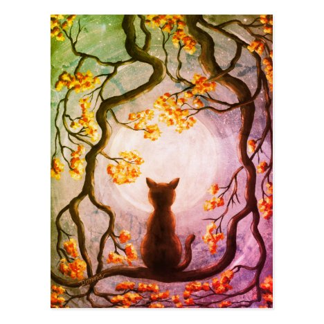 Whimsical Cat in Tree Full Moon Painting Art Postcard