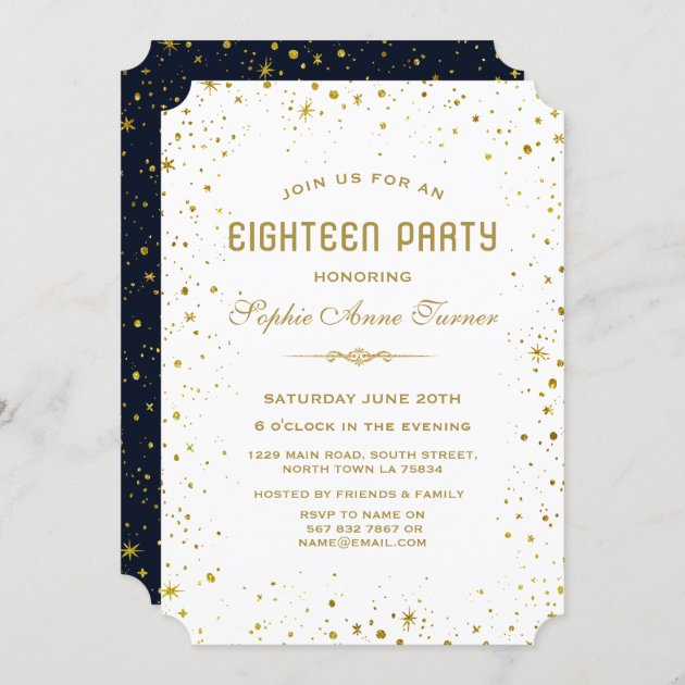 whimsical gold starry night 18th birthday party invitation zazzle com