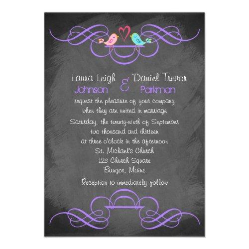 Whimsical Love Birds, Chalkboard Wedding - Purple Invitation