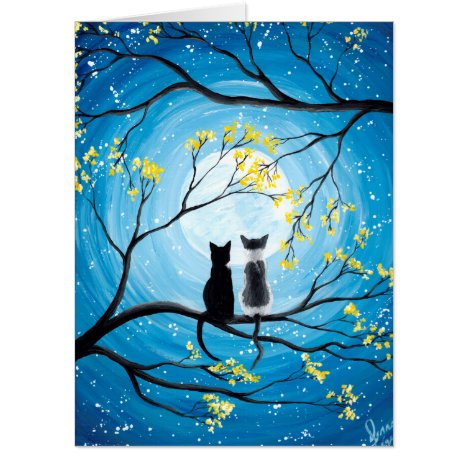 Whimsical Moon with Cats Card