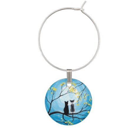 Whimsical Moon with Cats Wine Charm